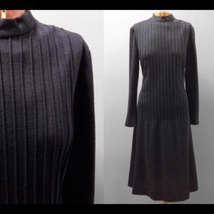 Vintage 1960's Navy Blue Ribbed Long Sleeved Dress