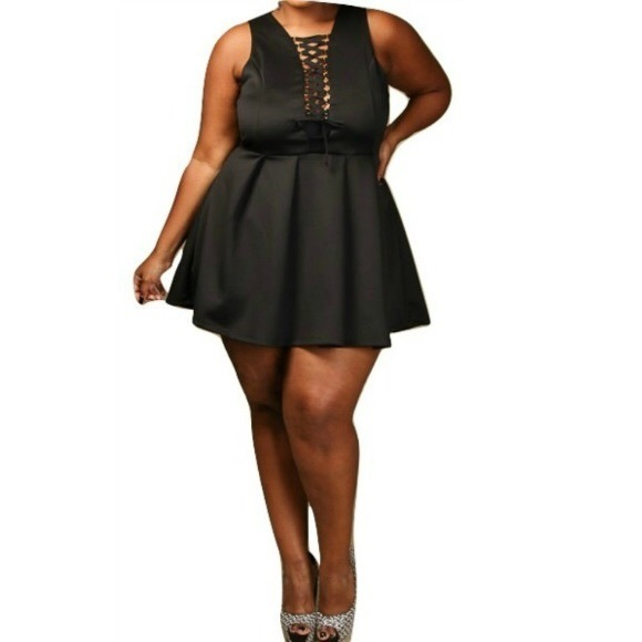 HP Plus Size Corset Tie Pleated Skater Mini Dress Boutique