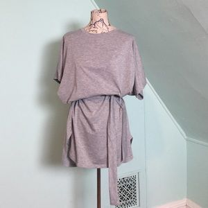 Dresses & Skirts - Grey Cotton Belted Tshirt Dress