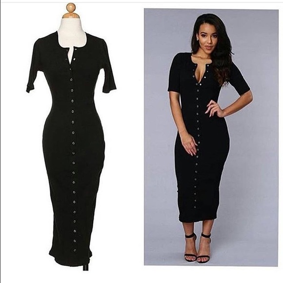 62e6277d19a Henley style snap button down sexy midi dress