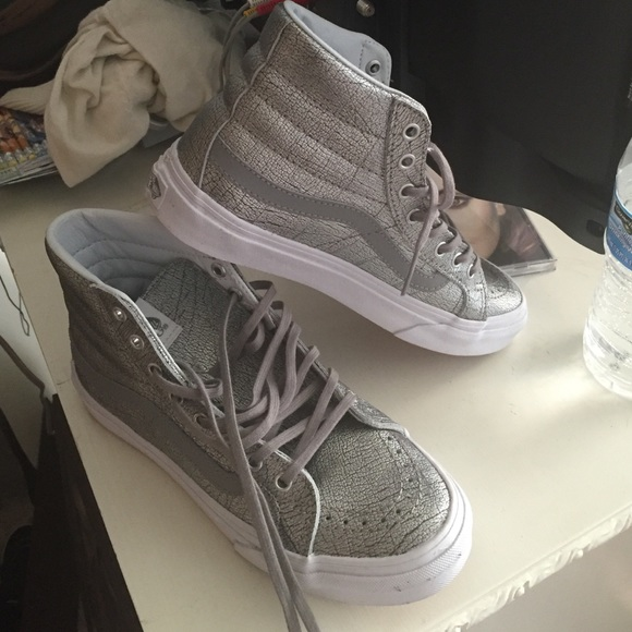 2390ae9dd3a6f8 metallic silver high top vans. M 57598555eaf0304b55002d7b