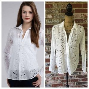 Ella Moss Silk Cotton Eyelet Popover size small