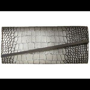 Jessica McClintock Handbags - Crocodile Pattern Silver Clutch