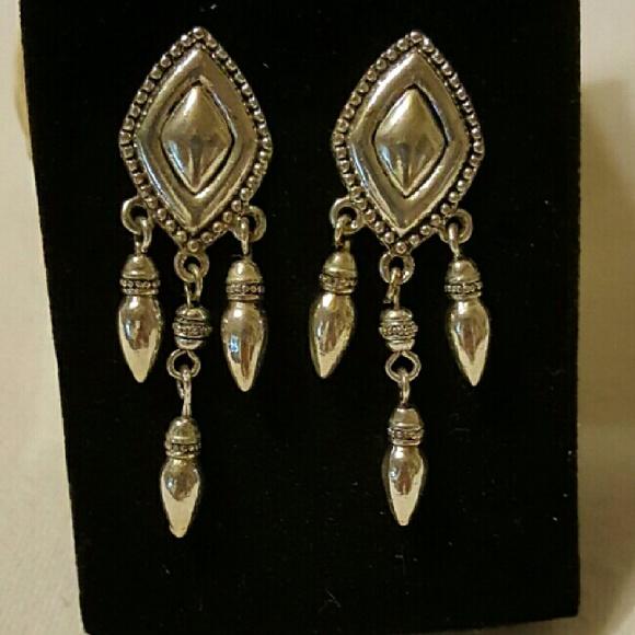 Avon Jewelry - Avon Silvertone Triple Drop Earrings