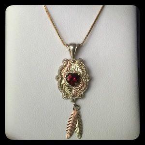 Black Hills C.CO Sterling & 12k Garnet Necklace