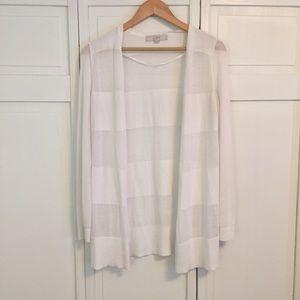 LOFT Sheer White Long Striped Cardigan