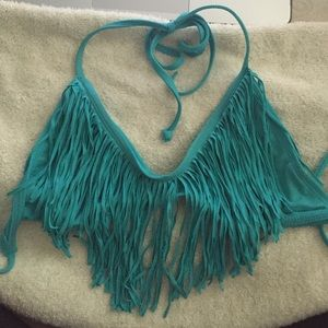 L*space turquoise fringe top