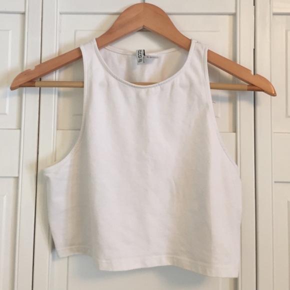 d53551c969d H&M Tops | Hm Basic White High Neck Sleeveless Crop Top | Poshmark