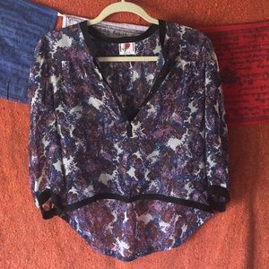 Sheer floral Free People high low blouse. XS/S