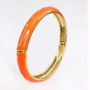 Adia Kibur Jewelry - Orange Enamel Dotted Bangle