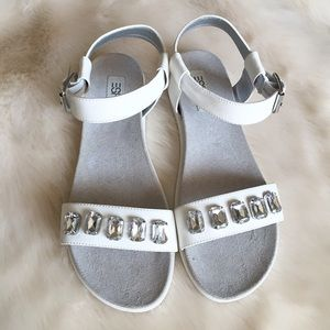 ESPRIT Shoes - Whit Faux Leather Jewel Embellished Sandals