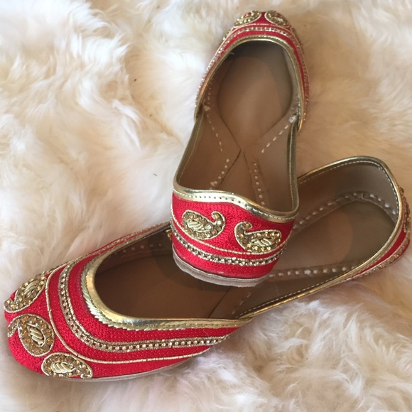 89a9d0c0fcba4 Indian Shoes | Red Beaded Leather Nwt From Europe | Poshmark