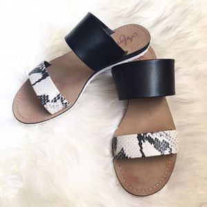 Black Python Embossed Leather Strap SlipOn Sandals