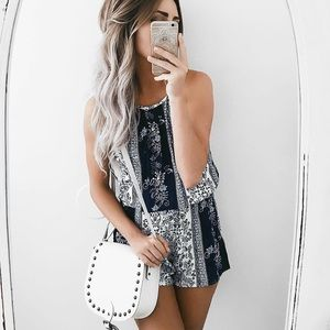 Blue Printed Sleeveless Romper
