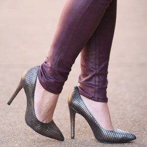 Coach Python Embossed Metallic Leather Point Pumps