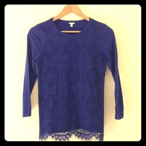 J.Crew 3/4 lace overlay top