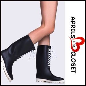 ❗1-HOUR SALE❗RAIN BOOTS Black Tall Lace Up Boots