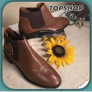 Topshop ⭐️ Like New Brown Leather Ankle Boots