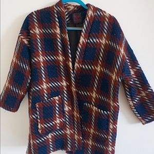 Plaid knit open coat with pockets S-M