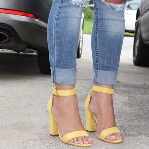 54% off Shoes - Flash sale- yellow chunky heels from Stephanie's ...