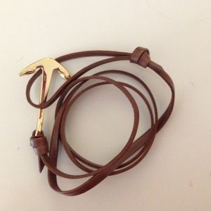 Leather wrap anchor bracelet