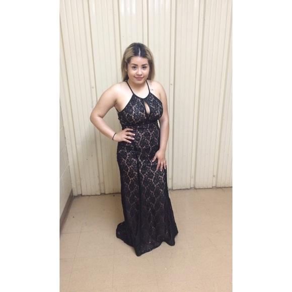 Macys Dresses Beautiful Blacknude Long Lace Dress Poshmark