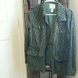 green leopard print coat