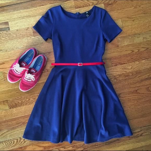 ec5f7926a9b9 H&M Dresses | H M Navy Belted Fit And Flare Dress | Poshmark