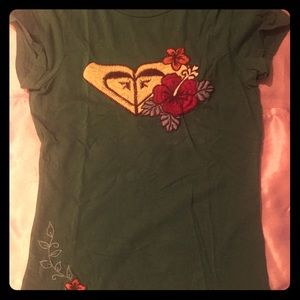 XS green roxy embroidered tee