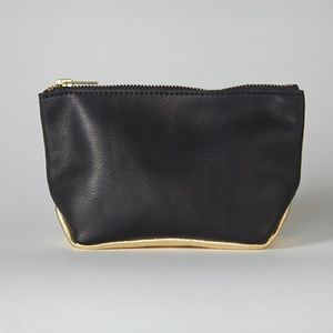 SALE Black and Gold Leather Pouch
