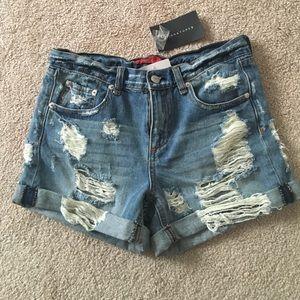 NWT Distressed denim shorts
