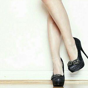 Black glitter bow knot heels
