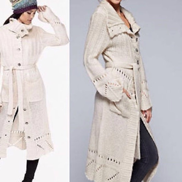 77% off Love stitch Sweaters - Long Ivory love stitch duster coat ...