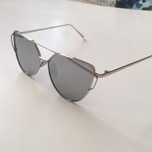 6f595227a6b LAST ONE! Silver Mirror Lens Cross Wire Sunglasses Boutique
