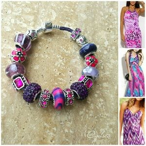 Salty Grace  Jewelry - Purple and pink 'Out loud' leather charm bracelet