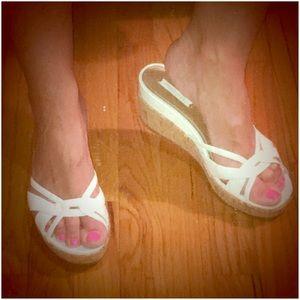 Nine West Shoes - Nine West White Cork Bottom Wedge Sandals