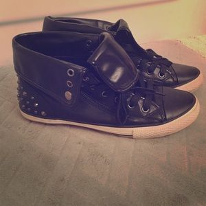 Black Leather Studded Sneakers 💀