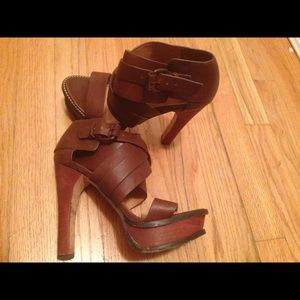 L.A.M.B. Shoes - L.A.M.B brown high heel women's sandals