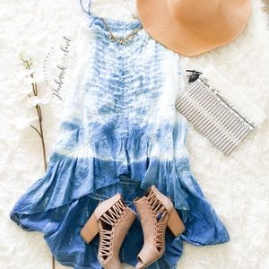 O'Neill Dresses & Skirts - Beautiful Blue & White Lace & Tie Dye Dress