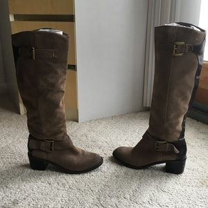 Suede Riding Boots - Brown