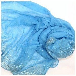 B10 Metallic Gold Foil Spec Turquoise Blue Scarf