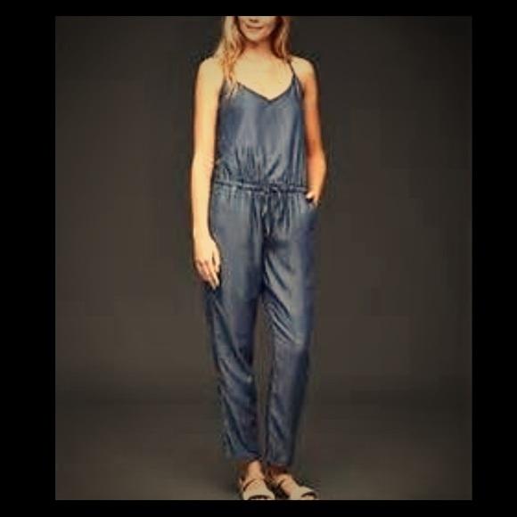 b80165f7361 1969 Gap Tencel Denim Cami Jumpsuit size M