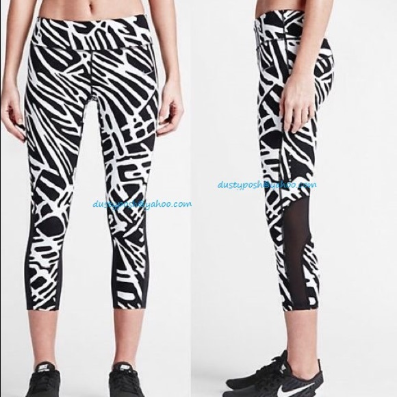 16% off Nike Pants - Nike Palm Epic Lux Running Capris Black White ...