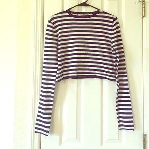Zara Knit navy/white striped cropped sweater.