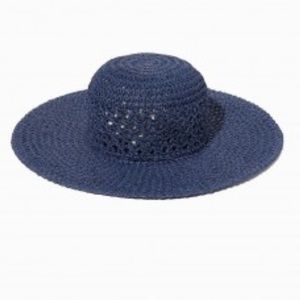 Charming Charlie Accessories - Navy blue woven floppy hat