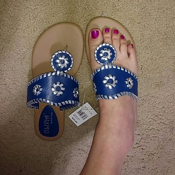 6e4474f8ef8c8 FINAL SALE Blue Whipstitched Thong Sandal