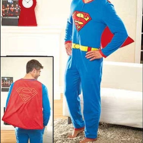 Superman Intimates Sleepwear Adult Onesie With Cape Poshmark