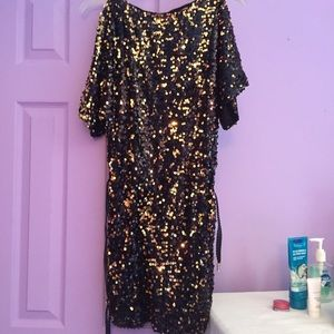 Black and gold sequin sparkly dress