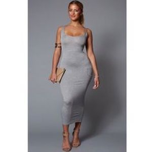 Gray Ribbed Midi Dress