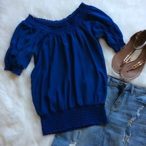 Tops - Blue Peasant Top
